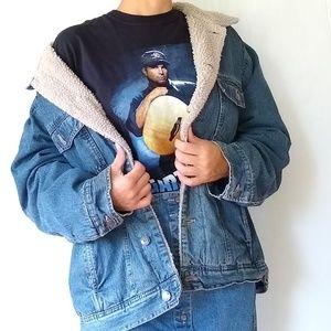 Vintage Sherpa lined oversized trucker's jacket